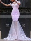 New Trumpet/Mermaid Scoop Neck Tulle Sweep Train Appliques Lace Long Sleeve Prom Dresses #Favs020102452