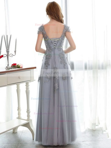 A-line Scoop Neck Tulle Floor-length Appliques Lace Prom Dresses #Favs020102900