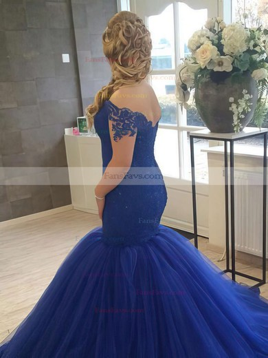 Trumpet/Mermaid Off-the-shoulder Court Train Tulle Prom Dresses with Appliques Lace #Favs020102915