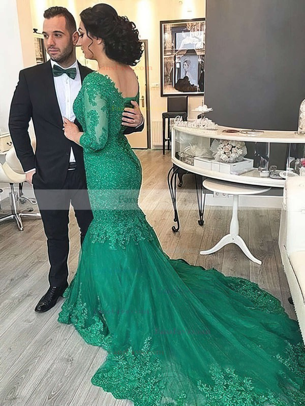 Trumpet/Mermaid V-neck Tulle Court Train Appliques Lace Prom Dresses #Favs020102918