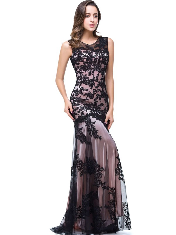 Trumpet/Mermaid Scoop Neck Sweep Train Tulle Prom Dresses with Appliques Lace #Favs020104144