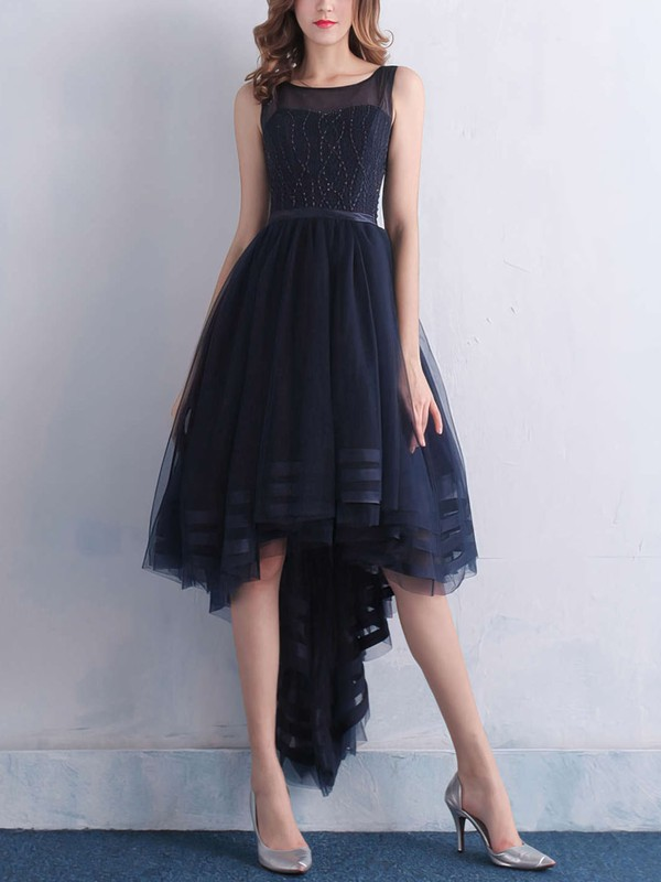A-line Scoop Neck Asymmetrical Tulle Prom Dresses with Beading Sashes #Favs020103134