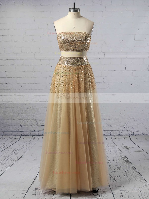 A-line Strapless Floor-length Tulle Prom Dresses with Beading Sequins #Favs020103286