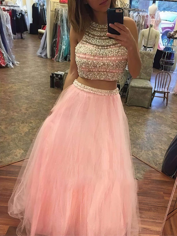 A-line Scoop Neck Floor-length Tulle Prom Dresses with Pearl Detailing #Favs020103528