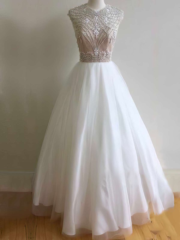 Ball Gown Scoop Neck Tulle Floor-length Beading Prom Dresses #Favs020103640