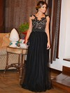A-line Scoop Neck Floor-length Tulle Prom Dresses with Appliques Lace Sashes #Favs020103739