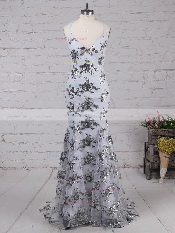 Sheath/Column V-neck Floor-length Tulle Prom Dresses with Sequins #Favs020104817