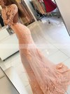 Trumpet/Mermaid Scoop Neck Tulle Sweep Train Appliques Lace Prom Dresses #Favs020104852