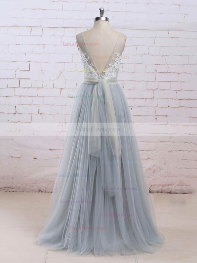 Princess V-neck Tulle Floor-length Appliques Lace Prom Dresses #Favs020104853