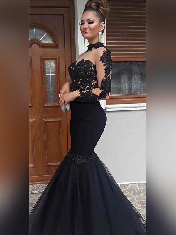 Trumpet/Mermaid High Neck Tulle Floor-length Appliques Lace Prom Dresses #Favs020104886