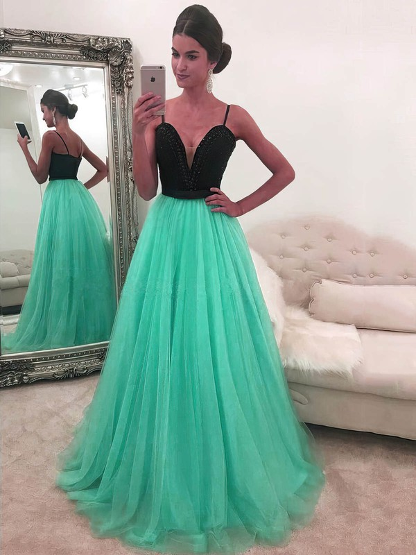 A-line V-neck Floor-length Tulle Prom Dresses with Beading #Favs020104942