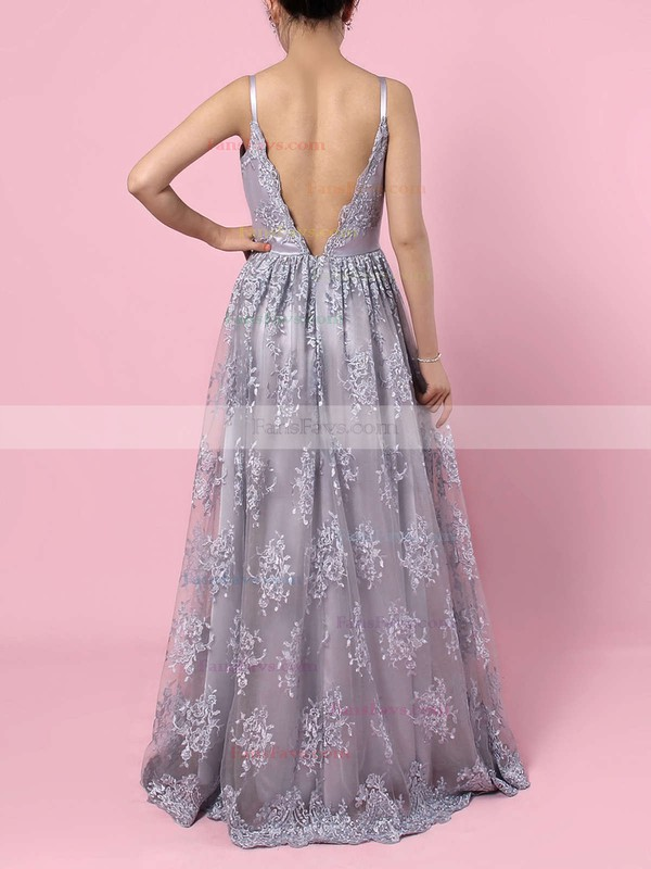 A-line V-neck Sweep Train Tulle Prom Dresses with Appliques Lace #Favs020104261
