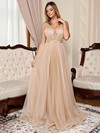 Princess V-neck Tulle Sweep Train Sashes / Ribbons Prom Dresses #Favs020105000