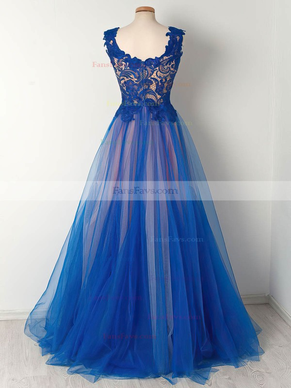 Princess Scalloped Neck Tulle Floor-length Appliques Lace Prom Dresses #Favs020105008