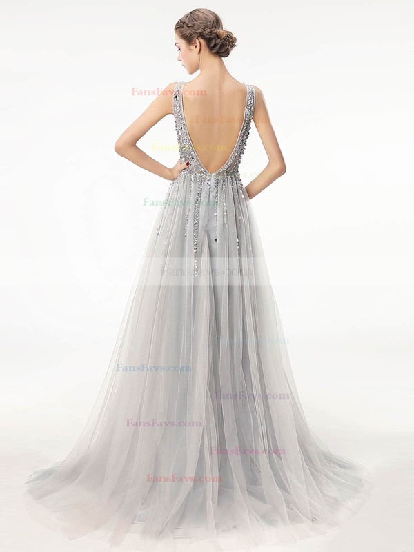 A-line V-neck Tulle Sweep Train Beading Prom Dresses #Favs020105193