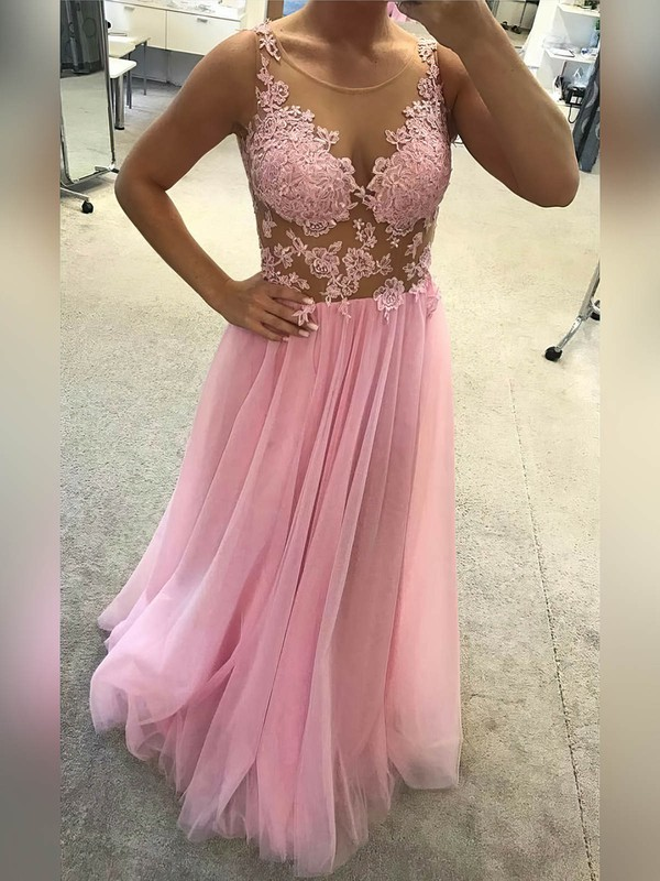 A-line Scoop Neck Floor-length Tulle Prom Dresses with Appliques Lace #Favs020105238