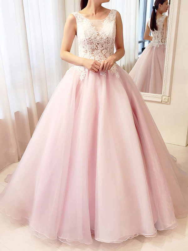 Ball Gown Scoop Neck Floor-length Tulle Prom Dresses with Appliques Lace #Favs020105413