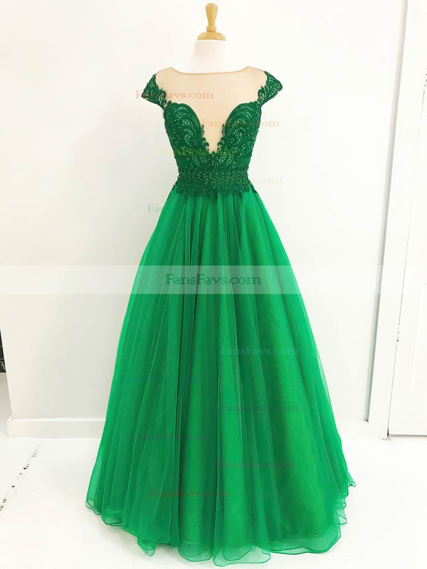 Ball Gown Scoop Neck Floor-length Tulle Prom Dresses with Lace Sequins #Favs020105416