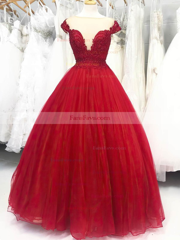 Ball Gown Scoop Neck Tulle Floor-length Lace Prom Dresses #Favs020105416