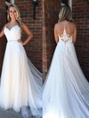 Princess Scoop Neck Sweep Train Tulle Prom Dresses with Appliques Lace Sashes #Favs020105563