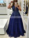 Princess V-neck Tulle Floor-length Appliques Lace Prom Dresses #Favs020105572