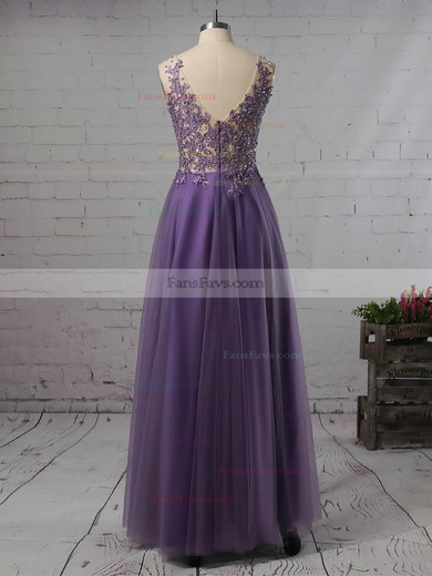 Princess V-neck Tulle Floor-length Beading Prom Dresses #Favs020105576