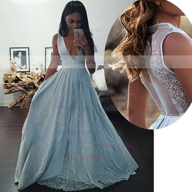 Princess V-neck Tulle Floor-length Beading Prom Dresses #Favs020104343
