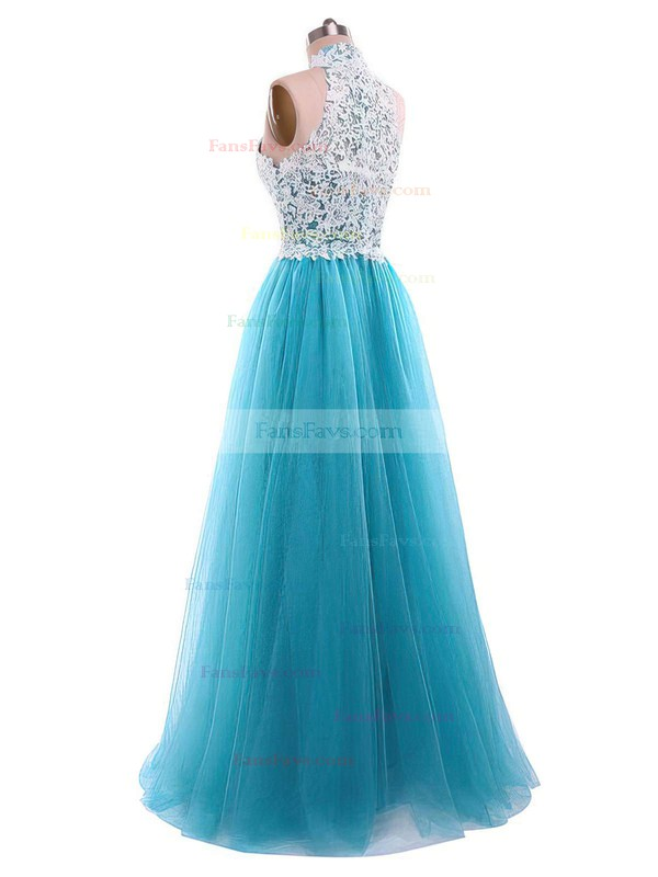 A-line High Neck Floor-length Tulle Prom Dresses with Appliques Lace Sequins #Favs020105687