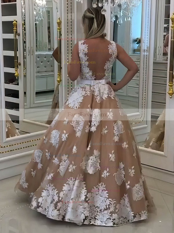 Princess V-neck Floor-length Tulle Prom Dresses with Appliques Lace Sashes #Favs020105756