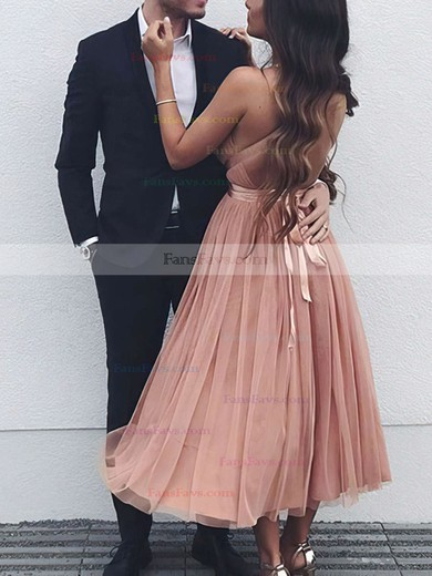 A-line V-neck Tulle Tea-length Sashes / Ribbons Prom Dresses #Favs020105823