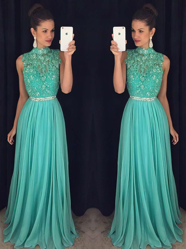 A-line High Neck Floor-length Tulle Chiffon Prom Dresses with Appliques Lace Beading #Favs020102443