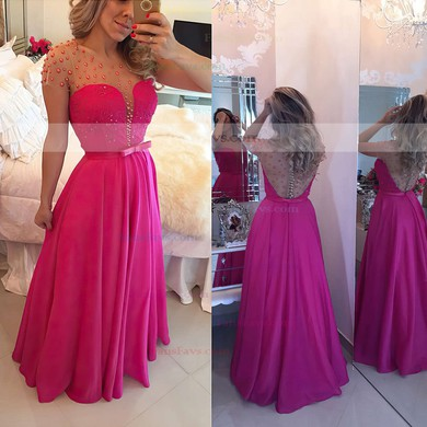 A-line Scoop Neck Floor-length Tulle Chiffon Prom Dresses with Lace Sashes #Favs020102817