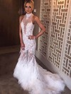 Trumpet/Mermaid High Neck Tulle Feather Sweep Train Appliques Lace Prom Dresses #Favs020104461