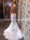 Trumpet/Mermaid High Neck Sweep Train Tulle Feather Prom Dresses with Appliques Lace #Favs020104461