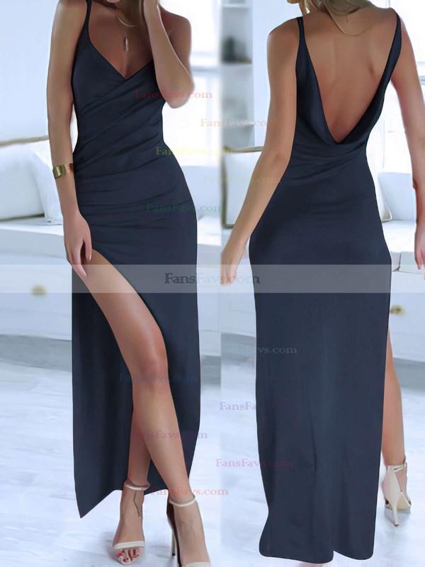 b4ac96b902 Sheath Column V-neck Ankle-length Jersey Prom Dresses with Split Front