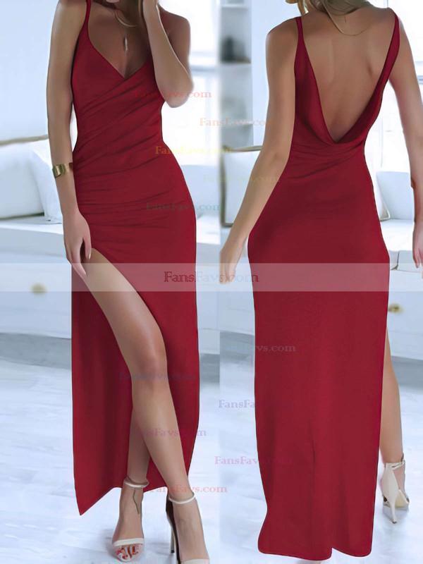 Sheath/Column V-neck Silk-like Satin Ankle-length Split Front Prom Dresses #Favs020104358
