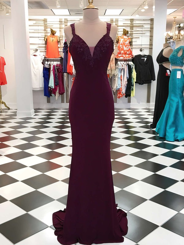 Trumpet/Mermaid V-neck Sweep Train Jersey Prom Dresses with Appliques Lace Sequins #Favs020105309