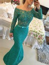Trumpet/Mermaid Off-the-shoulder Floor-length Tulle Lace Prom Dresses with Appliques Lace Sashes #Favs020102429