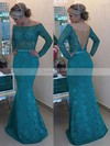 Trumpet/Mermaid Off-the-shoulder Lace Floor-length Appliques Lace Prom Dresses #Favs020102429