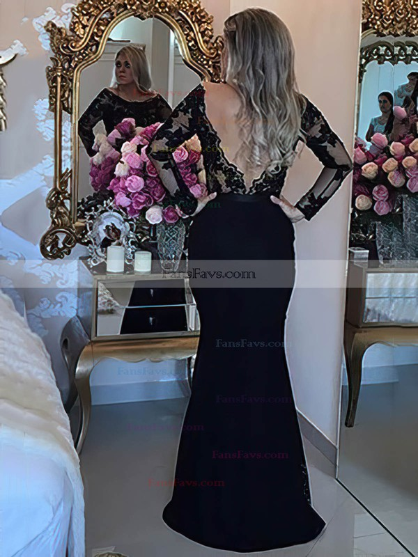 Trumpet/Mermaid Scoop Neck Sweep Train Tulle Lace Prom Dresses with Appliques Lace Beading #Favs020105593