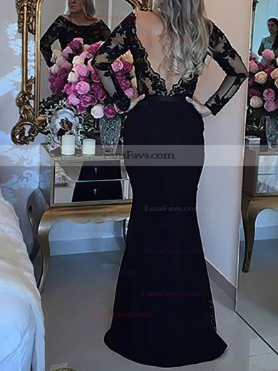 Trumpet/Mermaid Scoop Neck Lace Tulle Sweep Train Beading Prom Dresses #Favs020105593