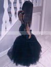 Trumpet/Mermaid Scoop Neck Tulle Sequined Floor-length Prom Dresses #Favs020105812