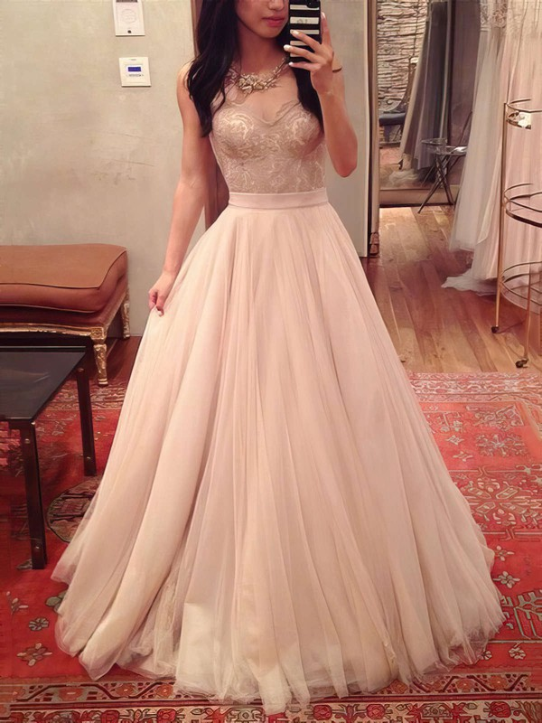 Ball Gown Sweetheart Tulle Floor-length Appliques Lace Prom Dresses #Favs020104360