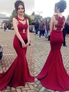 Trumpet/Mermaid Scoop Neck Jersey Sweep Train Appliques Lace Prom Dresses #Favs020105540