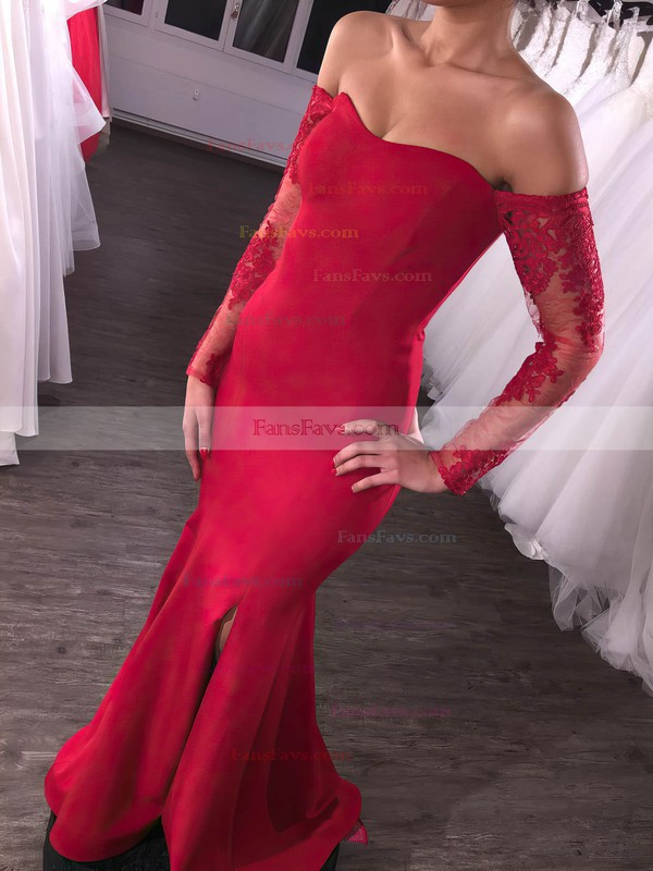 Trumpet/Mermaid Off-the-shoulder Stretch Crepe Floor-length Appliques Lace Prom Dresses #Favs020105586