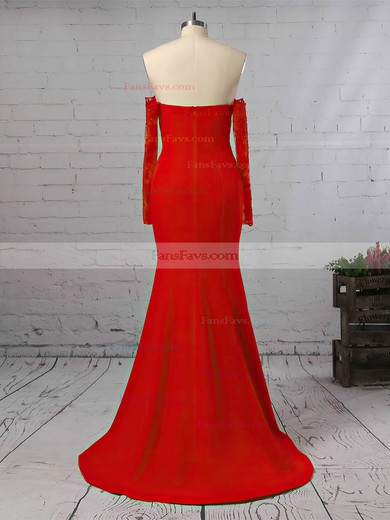 Trumpet/Mermaid Off-the-shoulder Floor-length Silk-like Satin Prom Dresses with Appliques Lace Split Front #Favs020105586
