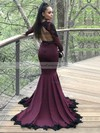 Trumpet/Mermaid V-neck Sweep Train Silk-like Satin Prom Dresses with Appliques Lace Sequins #Favs020105612