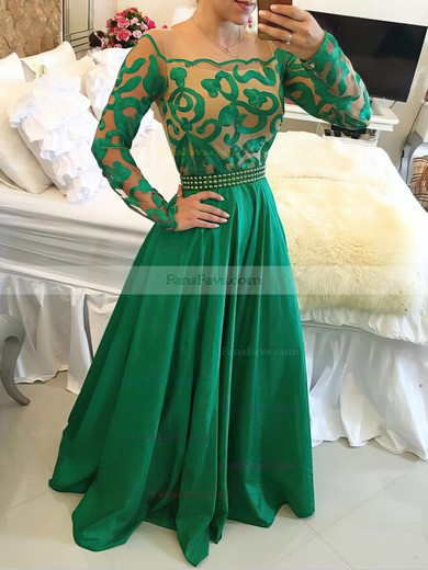 A-line Scoop Neck Chiffon Floor-length Beading Prom Dresses #Favs020102450