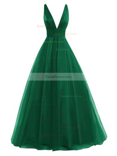 Ball Gown V-neck Floor-length Tulle Prom Dresses with Ruffle #Favs020104367