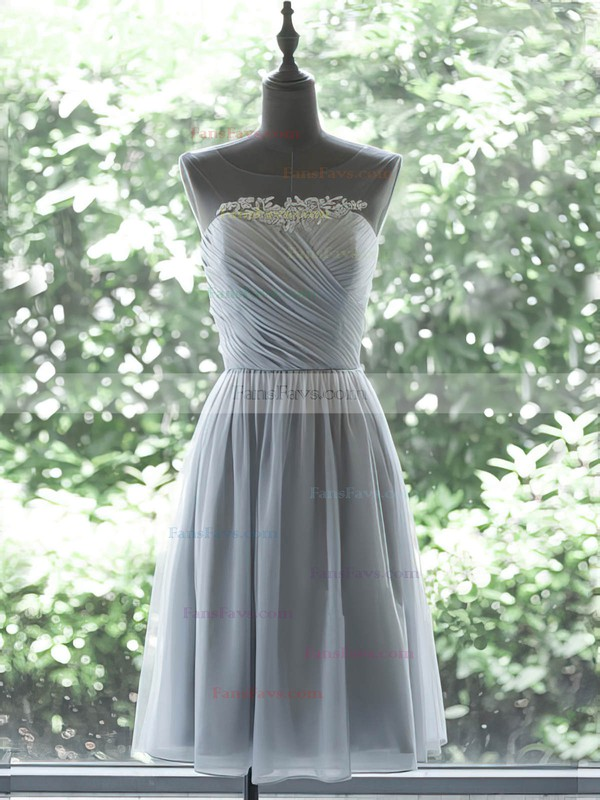 Cheap Knee-length Gray Chiffon Appliques Lace and Pleats Scoop Neck Prom Dress #Favs020100029